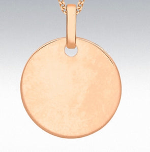 9ct rose gold disc pendant 14mm