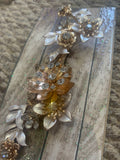 Bridal hair clip floral and golden bridesmaids