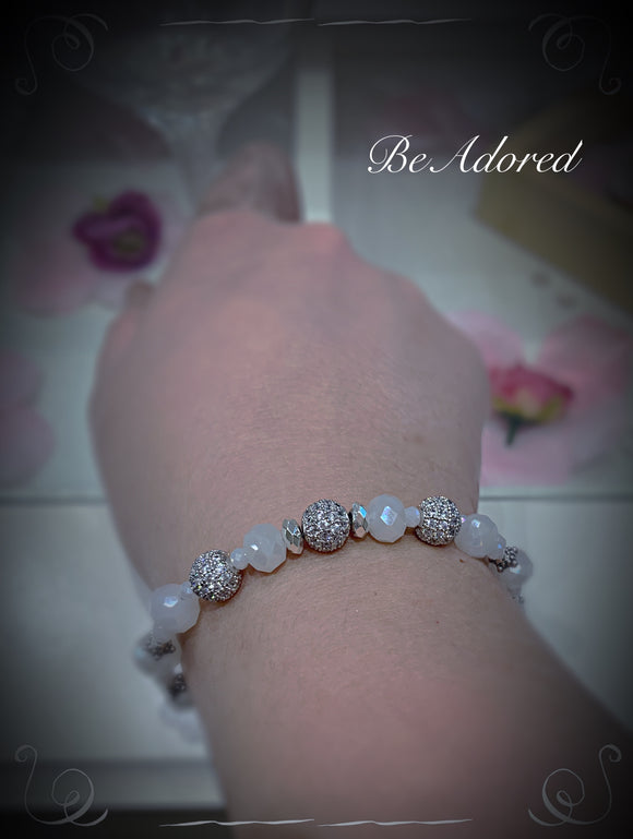 Silver and white handmade bridal crystal bracelet