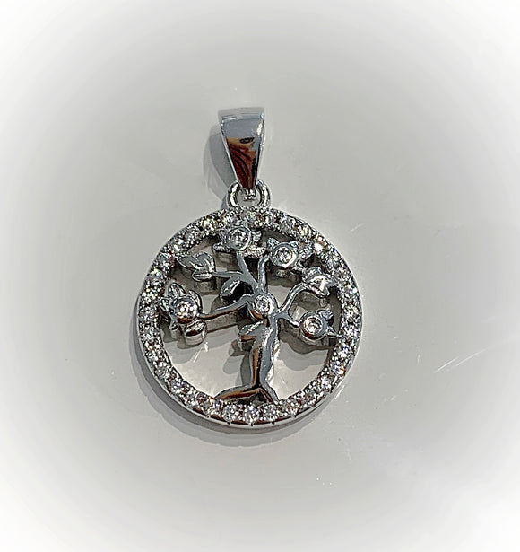 Family tree / Tree of life Love sterling silver cz pendant