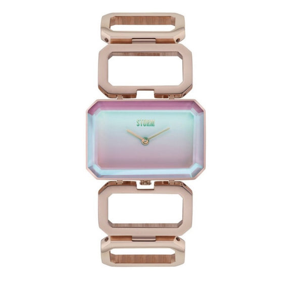 Modern fashion storm watch rose gold and rainbow