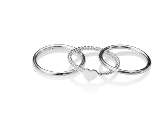 Sterling silver ring stacking rings with heart