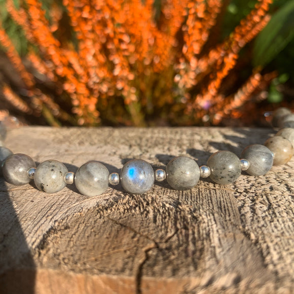 Labradorite and sterling silver crystal rock bracelet