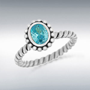 Stacking ring in sterling silver oval aqua blue