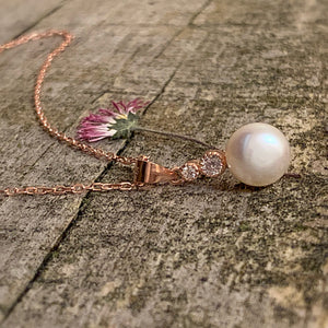 Pearl pendant sterling with Rose golden plate