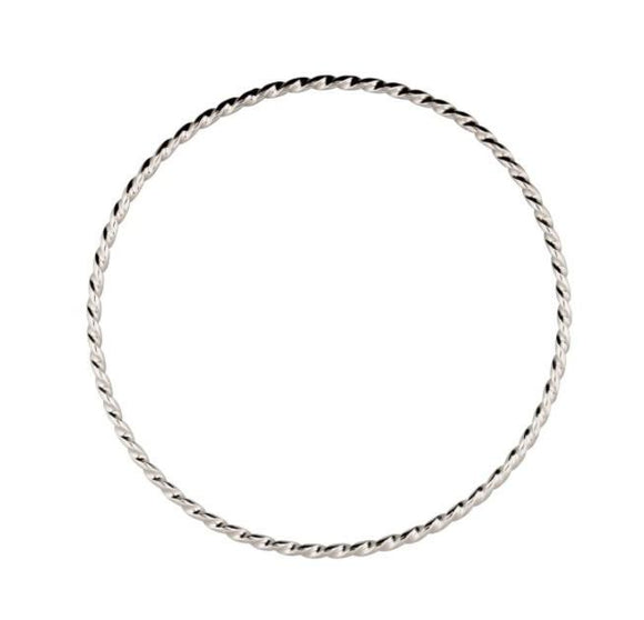 Solid Sterling silver narrow twist bangle