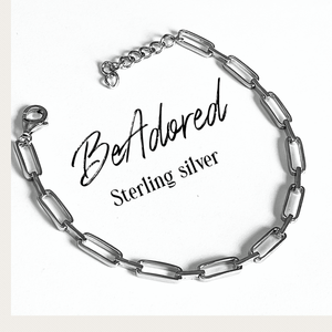 BeAdored sterling silver flat square bracelet