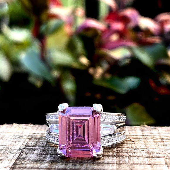 Large pink Sterling silver dress ring