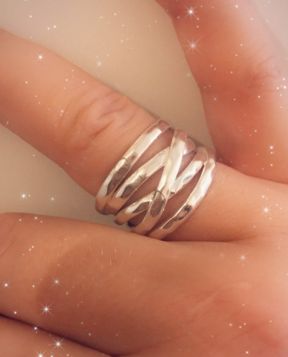 Broad Sterling silver layered ring