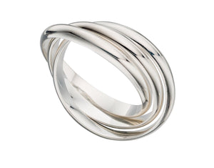 Sterling silver three entwined Russian wedding band
