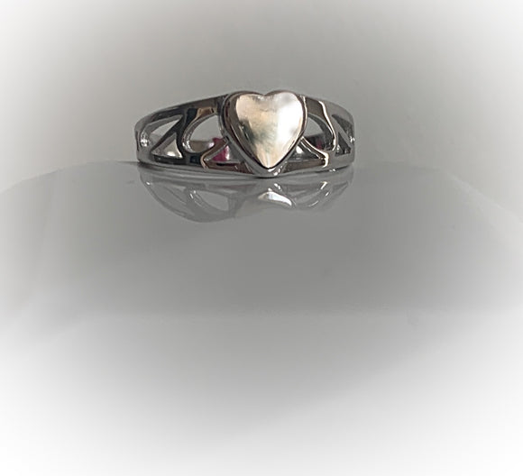 Kids signet ring sterling silver heart