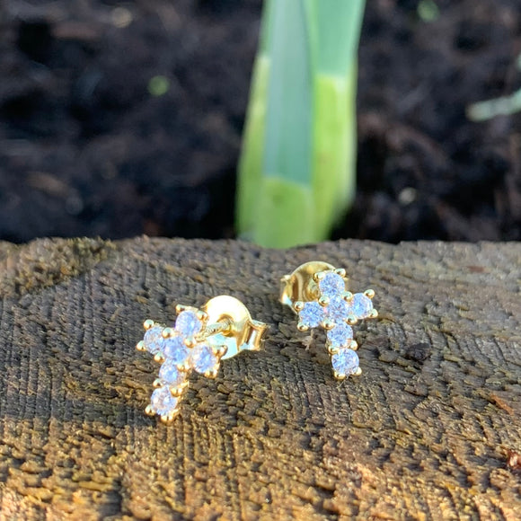 Sterling silver Cz Cross stud earrings yellow, rose plate