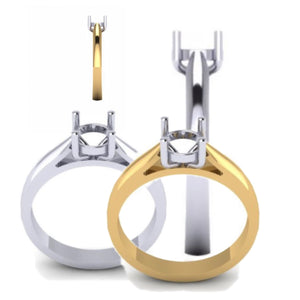 Brilliant cut 4claw diamond ring mount