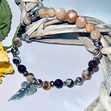 sunstone and agate feather charm bracelet