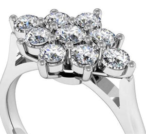 Cluster diamond ring mount bespoke