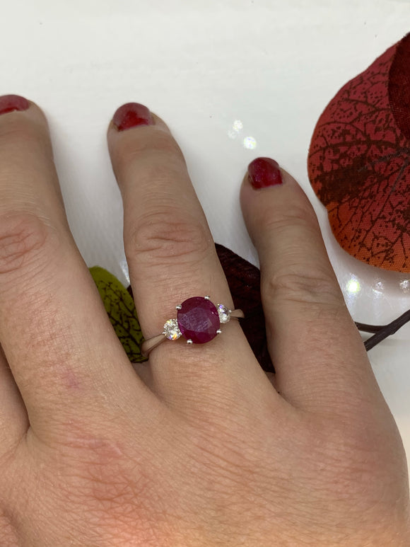 Ruby diamond ring. Three stone