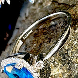 Bright Blue sterling silver and Cz Dress ring