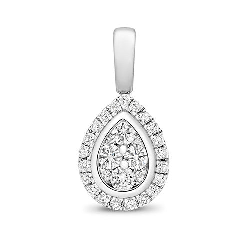 White gold and diamond teardrop pendant