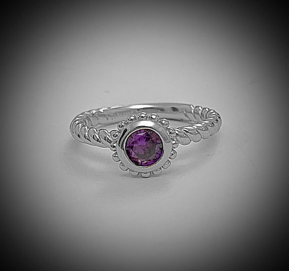February birthstone Sterling silver ring