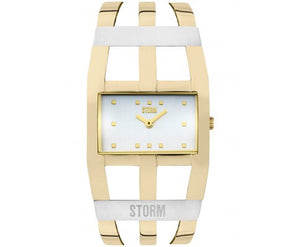 Ladies trendy yellow gold tone statement storm watch