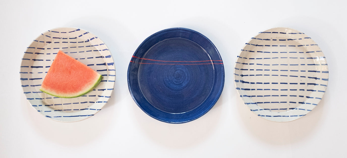 handmade blue and white small plates