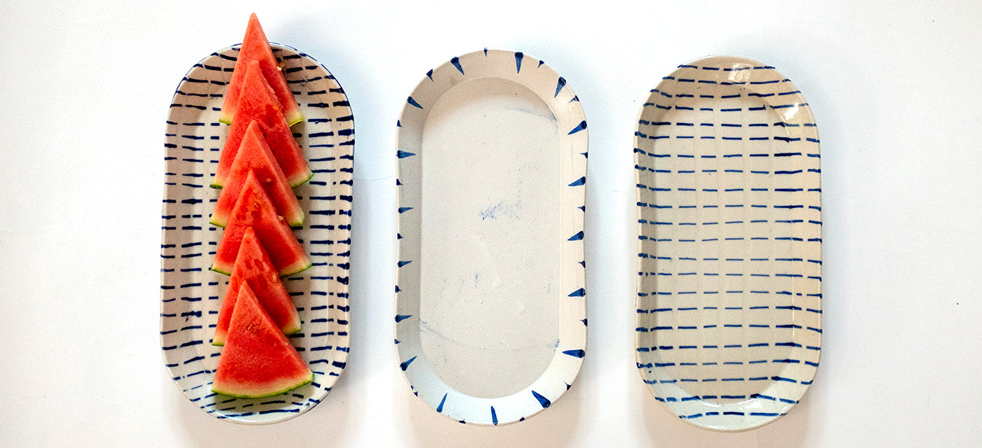 Hand-made white Oval Platters