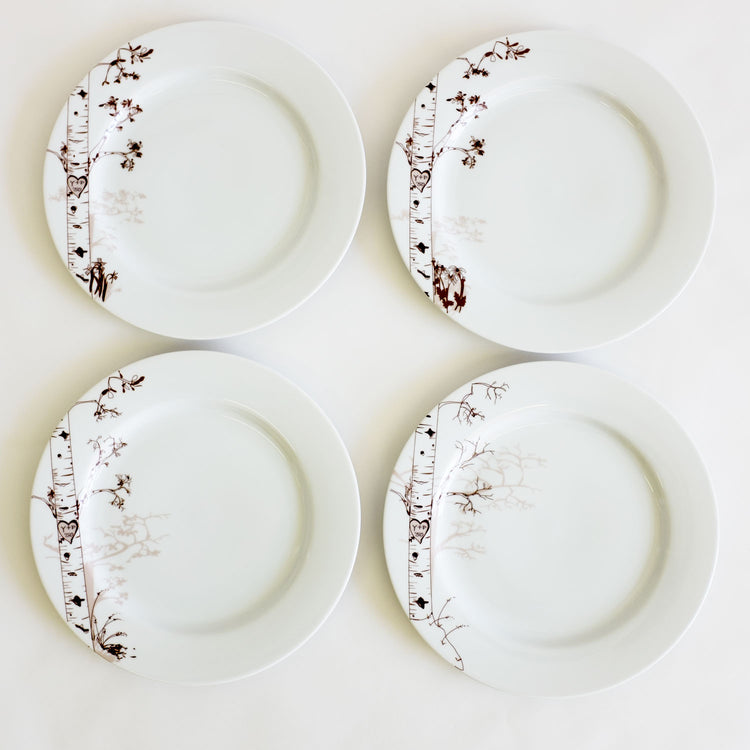 Birch Dessert Plates Set of 4 - rust designs
