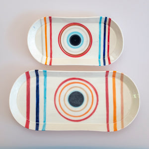 Circle Oval Platter Red and Orange