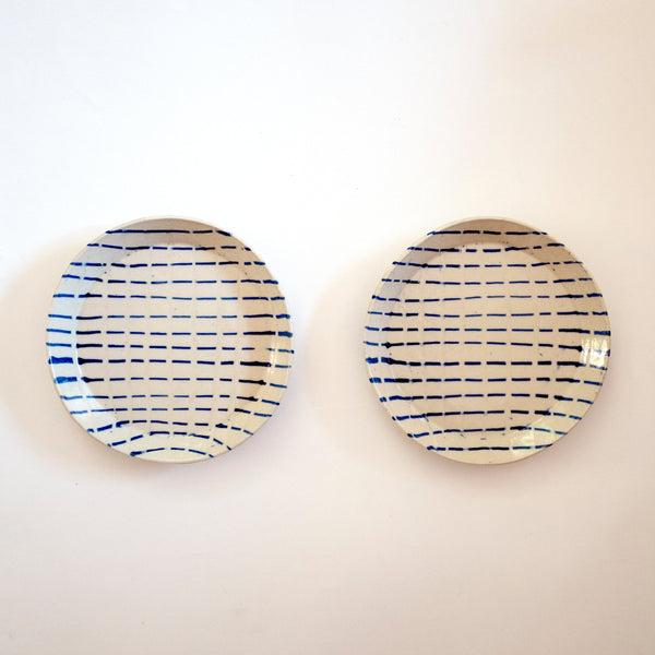 Dashed Line Set of 2 Plates - rust designs