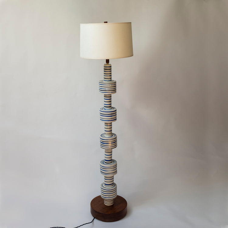 Striped White, Blue, and Black Floor Lamp.  Handmade with a solid walnut base.