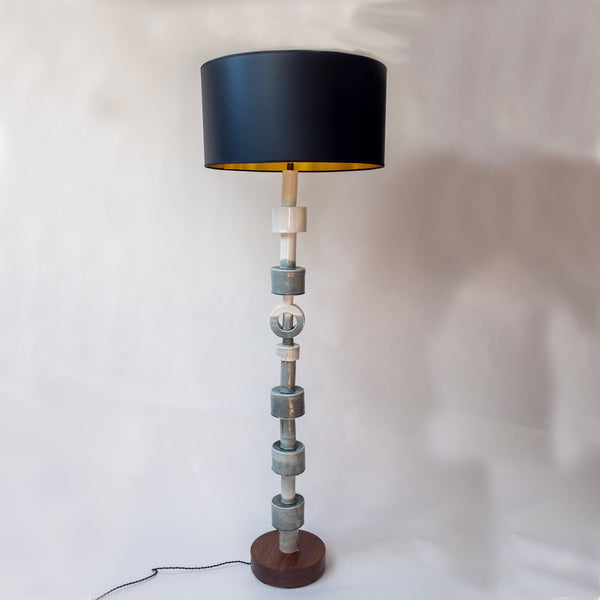Handmade Porcelain Floor Lamp with walnut base