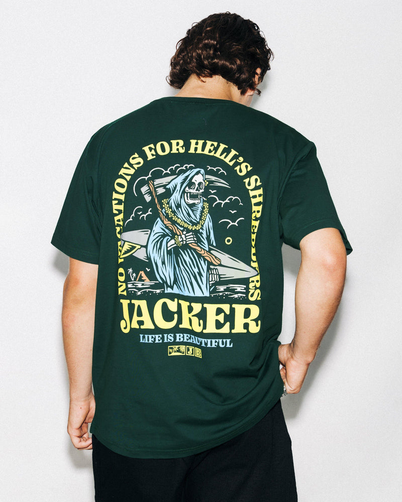 NO VACATIONS - T-SHIRT - DARK GREEN