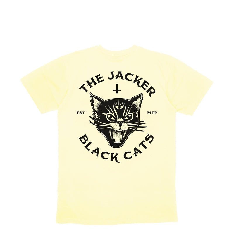 BLACK CATS - T-SHIRT - PALE YELLOW