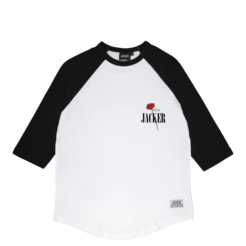 HOLY ROSES - RAGLAN - WHITE/BLACK