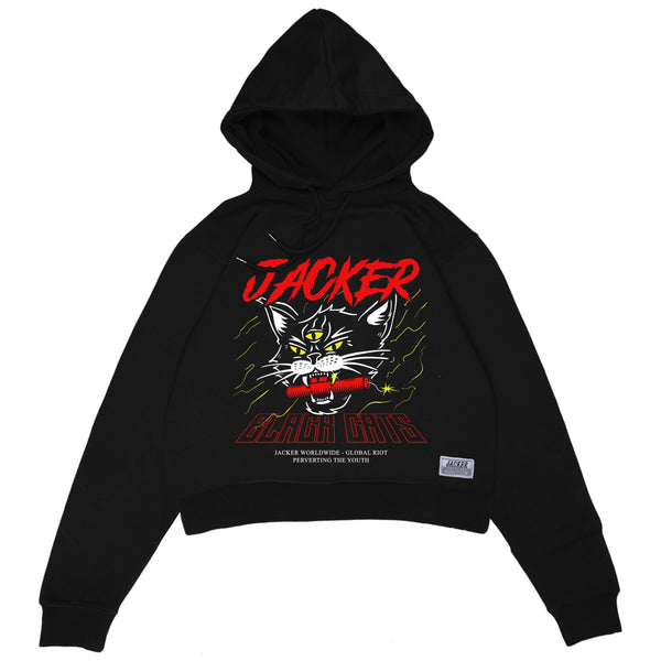 SAVAGE CAT - CROP TOP HOODIE - BLACK