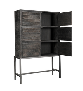WEATHERFIELD CABINET - BLACK OAK / METAL
