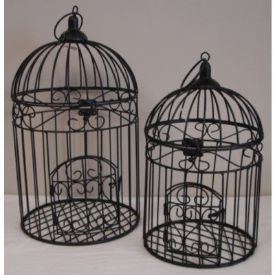 METAL BIRD CAGE ROUND SET OF 2 BLACK