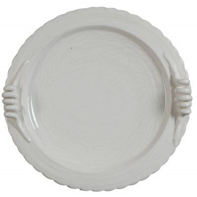CERAMIC CRACKLE PLATE WHITE - Luxe Living