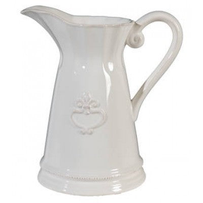CERAMIC PITCHER FLEUR DE LYS - Luxe Living