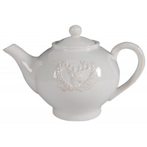 CERAMIC TEAPOT STAG WHITE - Luxe Living