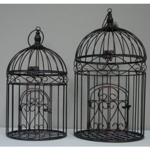 METAL BIRD CAGE ROUND SET 2 COPPER