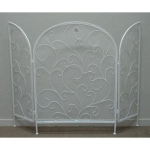 Metal Fire Screen Stand White
