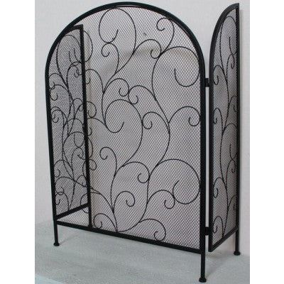 METAL FIRE SCREEN STAND ANTIQUE BLACK