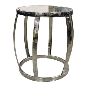 DRUM SIDE TABLE POLISHED + CLEAR - Luxe Living
