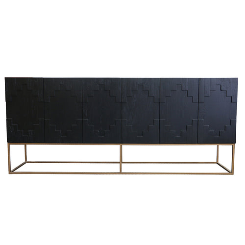 BROOKLYN SIDEBOARD - BLACK + BRASS - Luxe Living