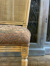 Load image into Gallery viewer, MARCEL DINING CHAIR - ANTIQUE OAK W/ JACQUARD FABRIC & RATTAN BACK