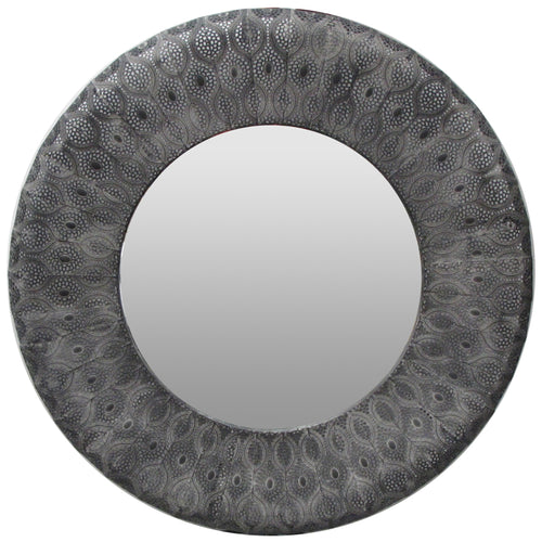 PANAMA MIRROR ROUND BLACK - Luxe Living