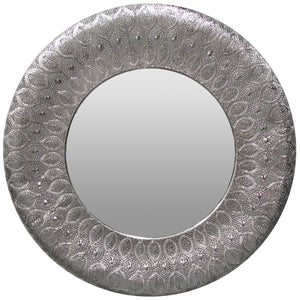 PANAMA MIRROR ROUND SILVER - Luxe Living