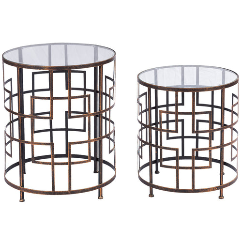 RAILEY SET 2 TABLES BURNT GOLD - Luxe Living