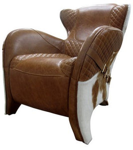 RODEO SINGLE CHAIR COLUMBIA BROWN W/COW SKIN